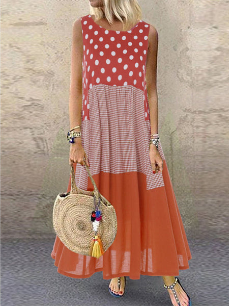 Printed Sleeveless Round Neck Sweet Dresses