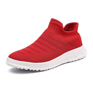 Women's Flyknit Breathable Sneakers Fashion Slip On Walking Shoes
