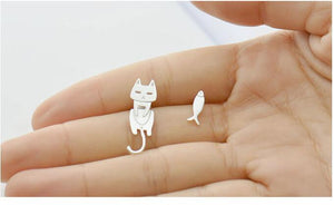 Allergy Preventing Cat & Fish 925 sterling Silver Stud Earrings