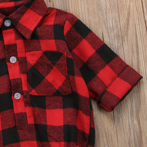 Deerly Loved Plaid Unisex Baby Romper Dress