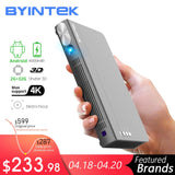 BYINTEK Mini 3D Projector P12,Android 6.0,Smart Wifi Pocket Portable Video Beamer, LED DLP lAsEr Mobile Projector For Smartphone