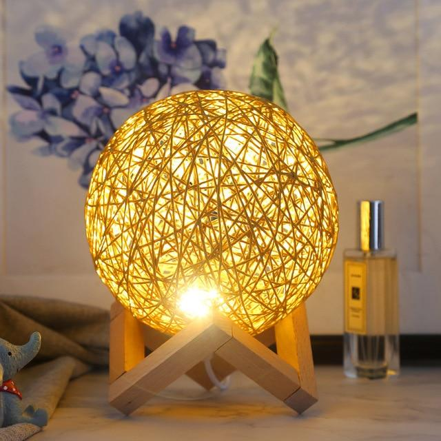 Rattan Ball Table Moon Lamp | Moon Lights Lamp | Customized Light Ball