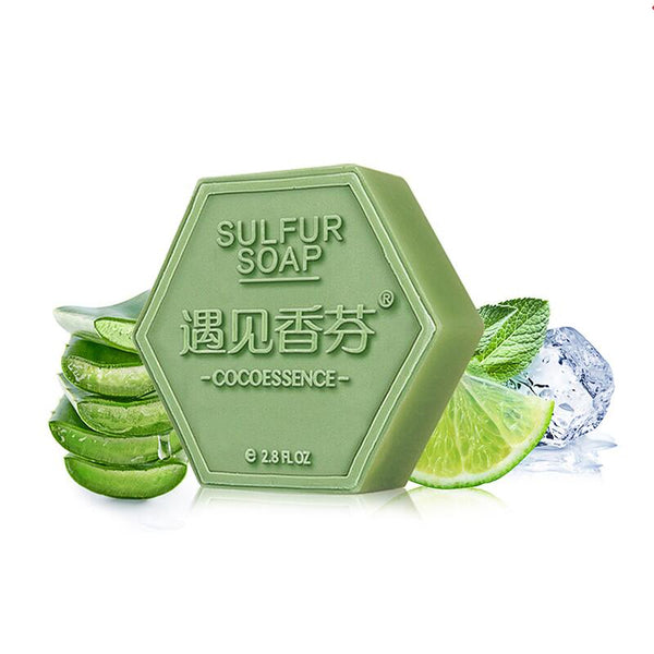 Sulfur handmade soap remover psoriasis seborrheic eczema antifungal face acne treatment oil control bath shower soap #807