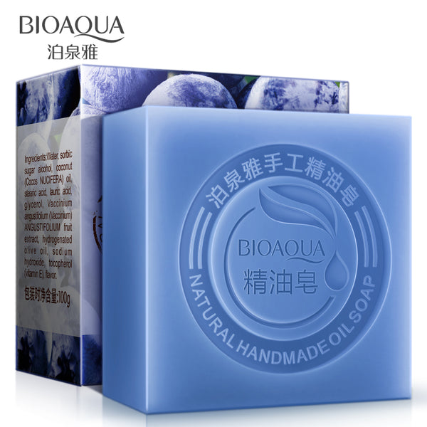 2Pcs/Lot BIOAQUA Blueberry Handmade Soap Skin Whitening Soap Blackhead Remover Acne Treatment Face Wash Hair Care Bath Skin Care