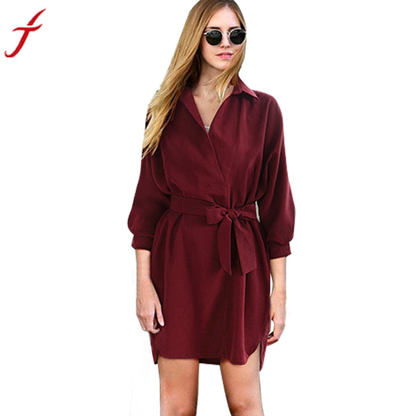 Women Elegant Winter Autumn dress full Sleeve Turn-down Collar Fashion Business Mini Sexy Dress With Belt #LSIW