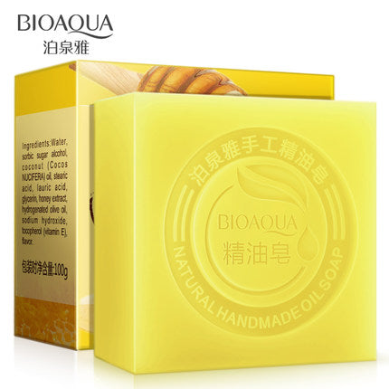 2Pcs/Lot BIOAQUA Honey Handmade Soap Skin Whitening Soap Blackhead Remover Acne Treatment Face Wash Hair Care Bath Skin Care