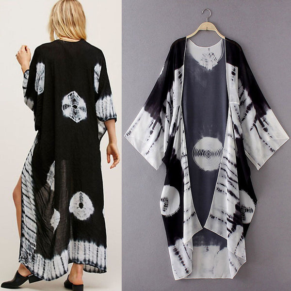 Women Print Chiffon Loose Shawl Kimono Cardigan Top Cover up Shirt Blouse