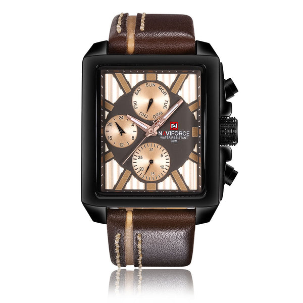 NAVIFORCE Luxury Genuine Leather Quartz Men Watch Square Dial 3ATM Water-Proof Man Casual Wristwatch with Sub-dials + Box
