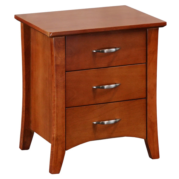 105# Malaysian Oak Bedside Table | 3 Drawer | Light color