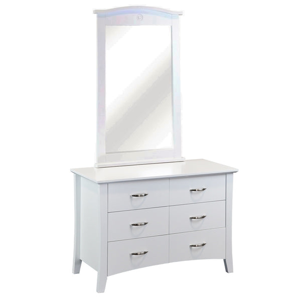 105# Malaysian Oak Dresser&Mirror | 6 Drawer | White color