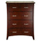 105# Malaysian Oak Tall Boy | 5 Drawer | Dark color
