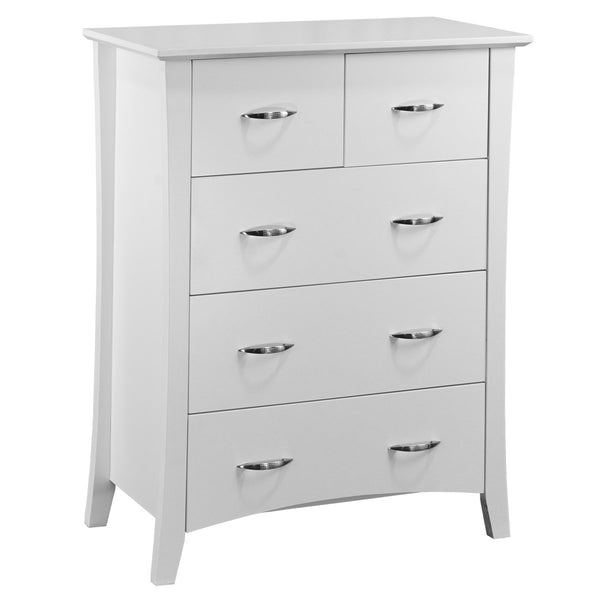 105# Malaysian Oak Tall Boy | 5 Drawer | White color