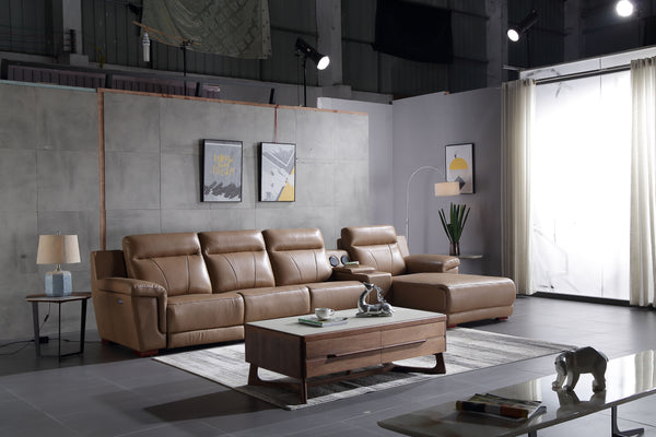 GB-5009 Genuine Leather L-Shape Lounge Suite