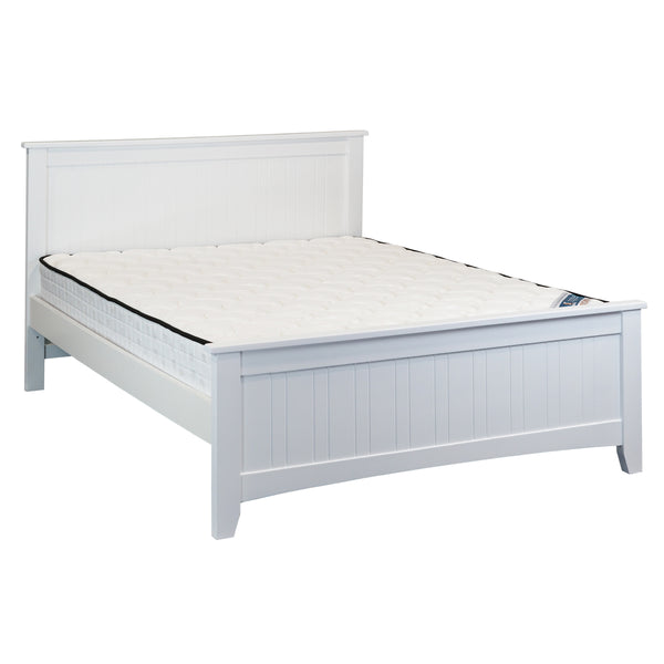 610# Malaysian Oak Bed Frame (High Siderail)  | Queen | White color