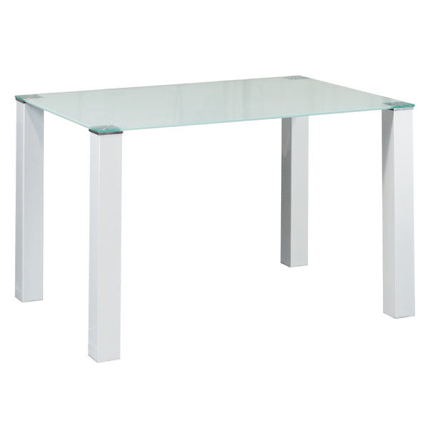 Bessie&Mona# Glass Top Dining Suite (Mona White Chairs)  | 1.2M Table&4 Chairs | White color