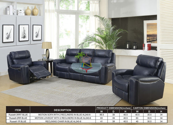 Russell# Recliner Lounge Suite (Nailhead Trim)  | 3RR+R+R