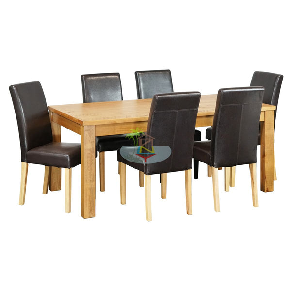 Vincent&Paul# Birchwood Dining Suite (&Leather Chairs)  | 1.8M Table&6 Chairs