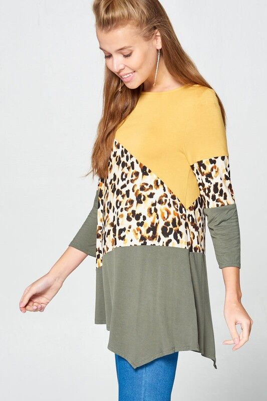 Wild Cheetah Flare 3/4 Sleeve Top