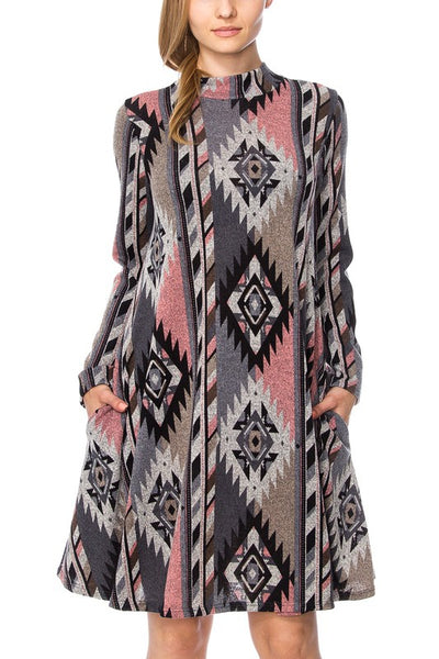 Long Sleeve Soft Tribal Dress