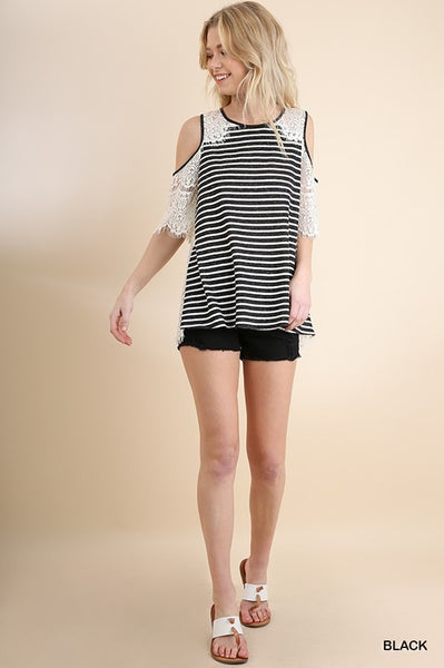 Stripes on Lace Top Black