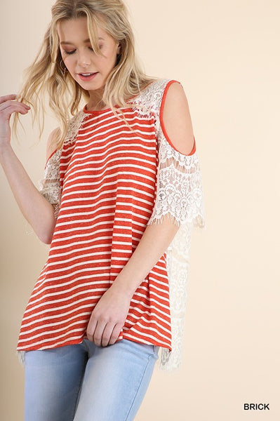 Stripes on Lace Top Coral