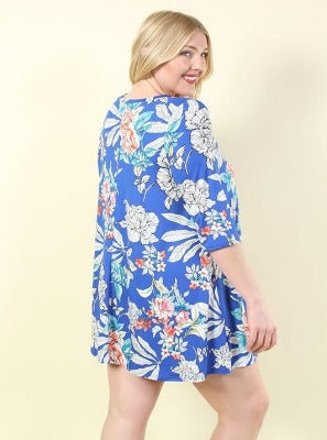 PLUS Royal Flowers Dress