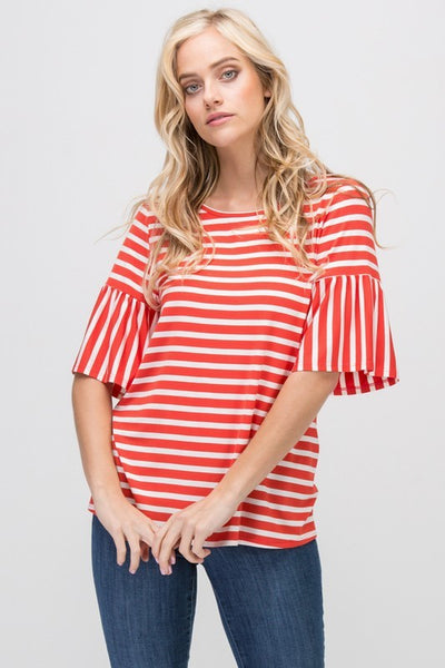Stripey Coral Ruffle Sleeve Top
