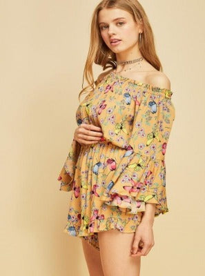Flying With Butterflies Short Romper