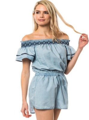 Chambray Life Off Shoulder Romper