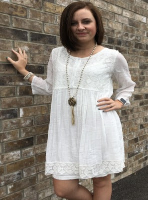 Hakoba embroidered button down tunic top or dress