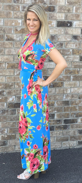 Wrap Maxi Blue Dress