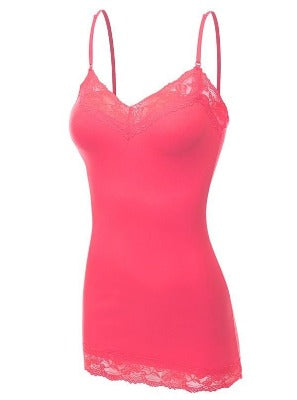 Lace Cami Hot Pink