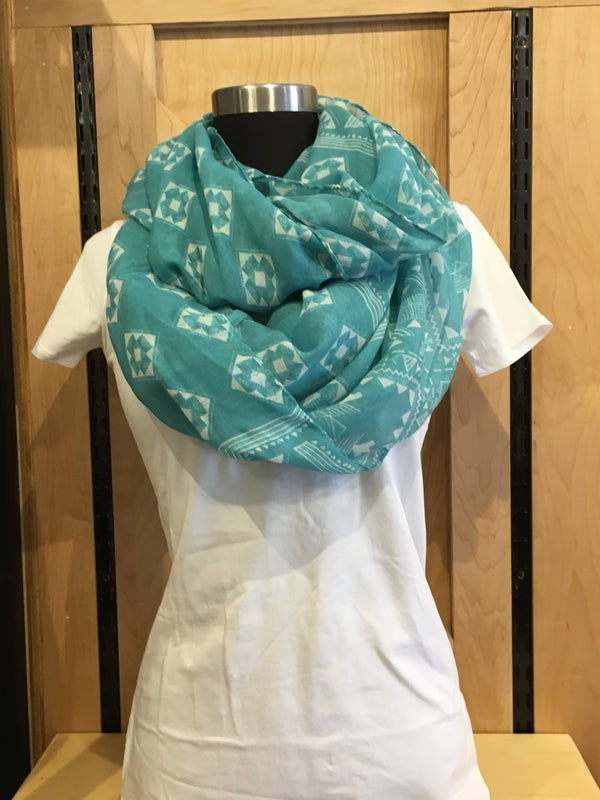 Teal Aztec scarf