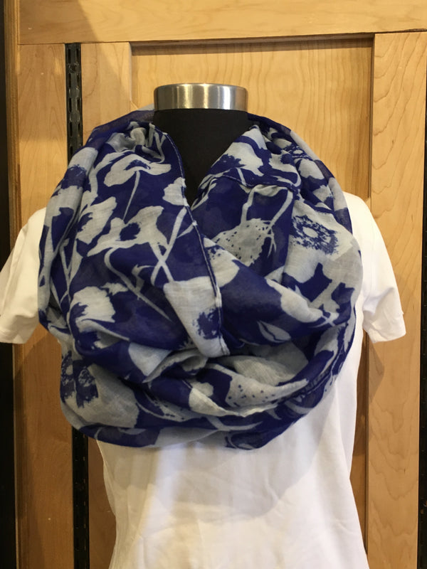 Royal blue floral scarf