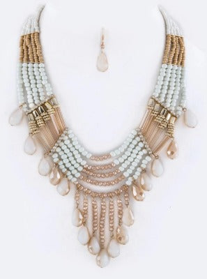 5 Strand necklace with Earrings