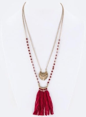 Long Necklace with red beads and tassel