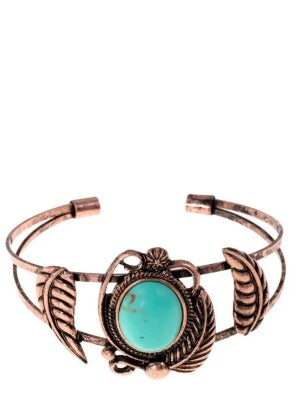 Brass bracelet with turquoise stone