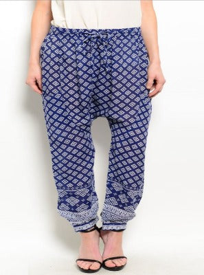 Navy Blue Tribal Print Pant