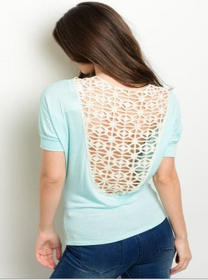 Mint Back Crochet Top