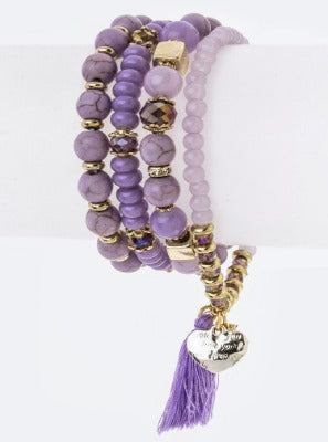 Multi strand tassel charm - Purple