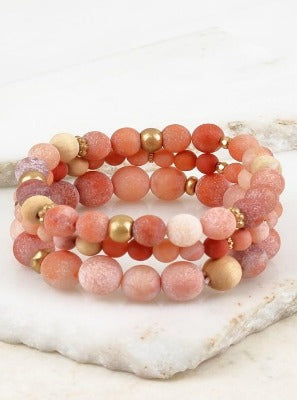 Multiple Beaded Bracelet Sets Peach