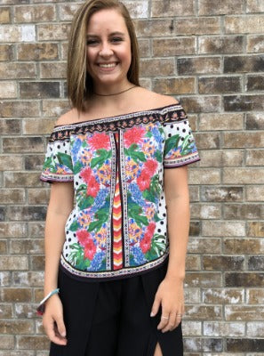 Off Shoulders with Flowers Top