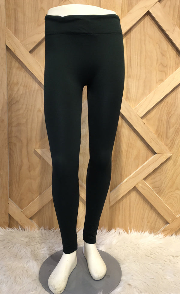 Solid Fleece Lined Dark Green leggings