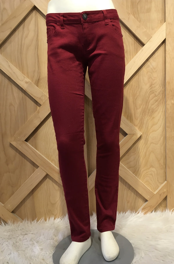 Solid Fleece Lined Burgundy leggings