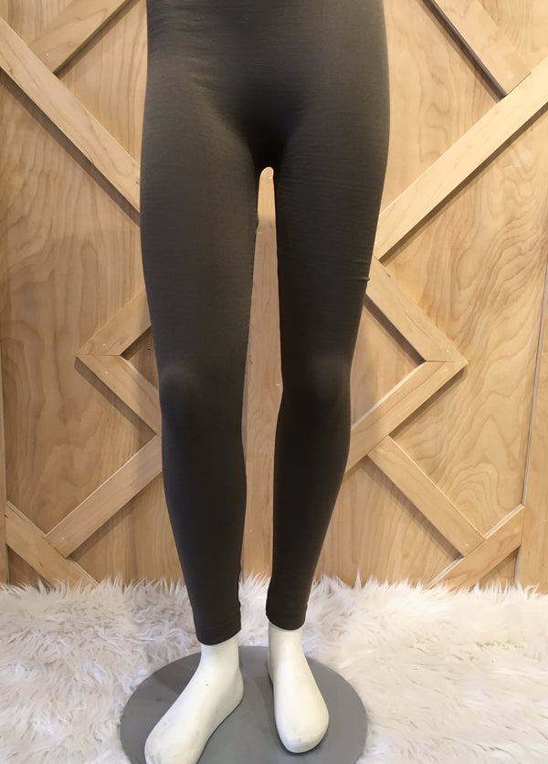 Solid Fleece Lined Olive Leggings