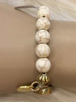 Howlite Bead Stretch Bracelet