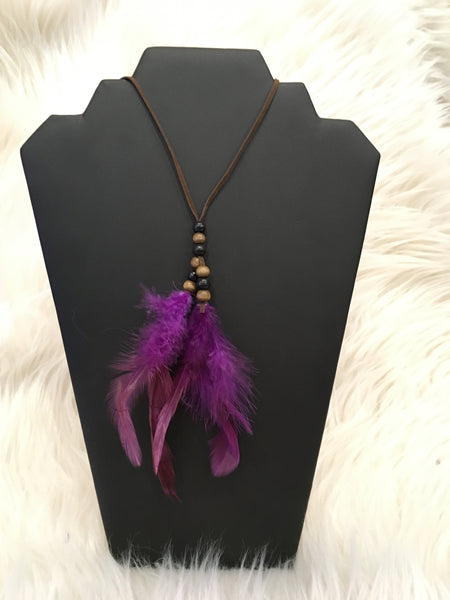 Purple Feather Leather Necklace