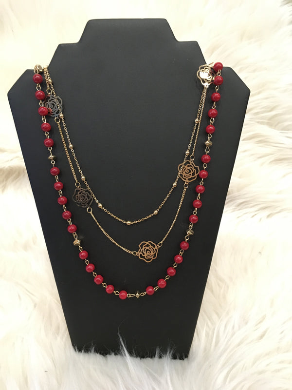 Red Bead Gold Roses Necklace