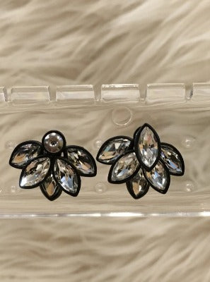 Black Flower Burst Earrings
