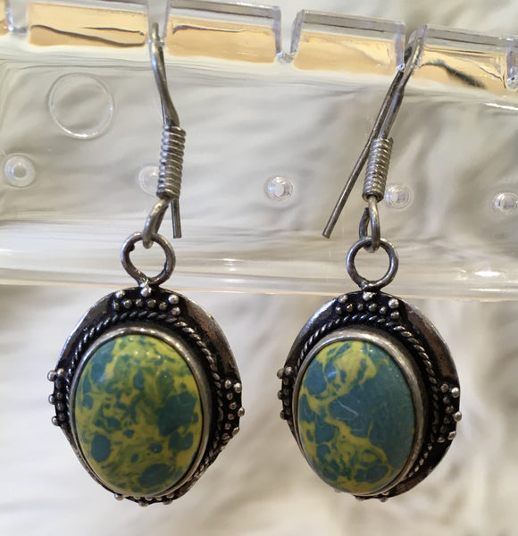 Semi Precious Stone Earrings Blue Yellow